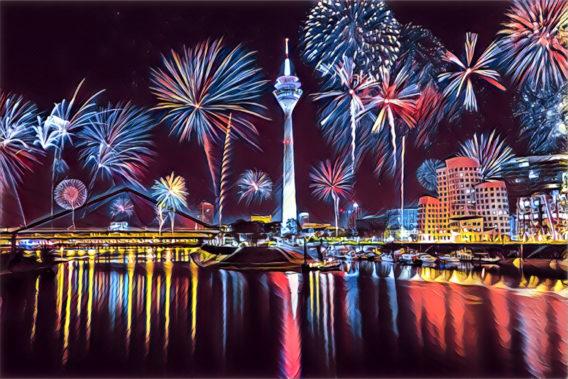 Düsseldorf Silvester gemalt